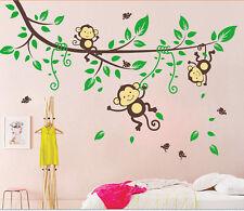 Monkey-Tree-Birds-Animal-Nursery/Kids/Boys/Children/Girls Wall sticker/decal