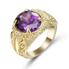 Fashion Women 18k yellow gold filled Amethyst Ring Wedding Jewelry Siize 8