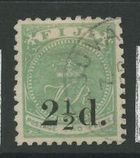 Fiji SG71 1891 2 1/2d 2 1/2d on 2d green Fine Used
