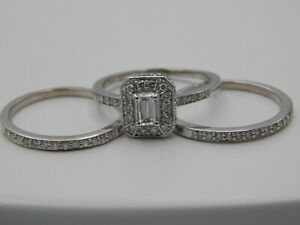 Designer 14K WG Wedding Set Emerald Cut Halo Diamond 3 Ring 1.31 tcw ct G/VS