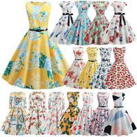 Women 50s Hepburn Vintage Rockabilly Evening Prom Summer Swing Party Dress