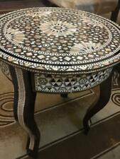 """Egyptian End Table Wood Inlaid Mother of Pearl (16"""")"""
