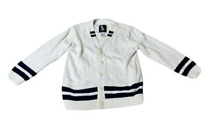 Janie and Jack Classic Style Button Up Striped Sweater Boys size 4 Cream & Navy