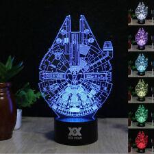3D STAR WARS Millennium Falcon illusione LUCE 7 Colori Lampada a Led Interruttore Touch