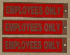 """Set Of 3 SIGNS - SELF ADHESIVE - """"EMPLOYEES ONLY"""" - SHIPS FREE 3 Red"""