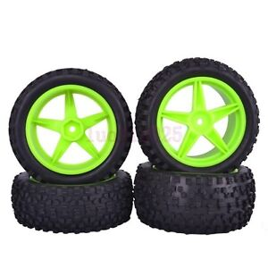 RC 1/10 Off-Road Buggy Front & Rear Rubber Tires Wheel Rim Green 66002-66022