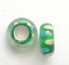 10 Green Lampwork Glass Beads 14x6mm Hole 5mm For European Charm Bracelet