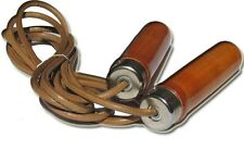 Classic Leather Rope wooden handle Skipping Fitness Muay thai boxing speed jump