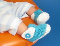 PRINTED INSTRUCTIONS-BABY T BAR 2 COLOUR SANDALS BOOTIES  KNITTING PATTERN
