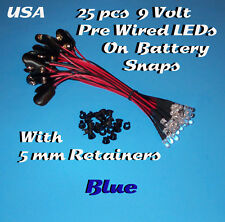 25 PRE WIRED 5MM LEDs 9 VOLT BLUE LED ON BATTERY SNAP 9V PREWIRED (Halloween)