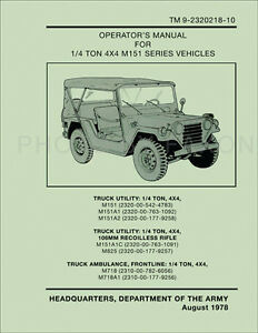 1969-1978 Jeep Propietario Manual M151A1 M151A2 M151A1C M718 M718A1 M825