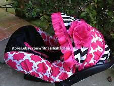 babygirl Chevron blac pink infant car seat canopy cover fit most infant car seat