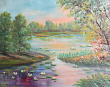 Vintage oil painting River landscape trees