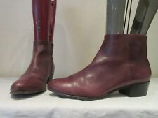 MENS AERIN BURGUNDY LEATHER ZIP UP CHELSEA STYLE ANKLE BOOTS UK 9 US 10 (3320)