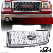 For 2007-2013 Gmc Sierra 1500 Chrome Round Mesh Front Bumper Hood Grille Abs (Fits: Gmc)