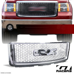 Grille Compatible With 2007-2013 GMC Sierra 1500 Denali 2008 2009 2010 2011 2012 ABS Plastic Chrome Front Upper Hood Grille Molding By IKON MOTORSPORTS