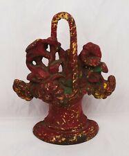 Antique Flower Basket Cast Iron Door Stop Victorian Era Hubley?