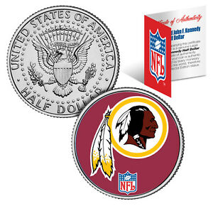 WASHINGTON REDSKINS  NFL JFK Kennedy Half Dollar US Coin  *Officially Licensed*