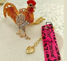 Betsey Johnson Necklace ROOSTER Cock Bright  ORange  Gold Enamel  Crystal Bling