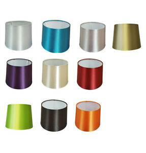 10 inch Empire Drum Pendant Ceiling Table Lamp Shade Bold Colours Satin Effect