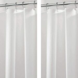 mDesign Plastic, Waterproof, PEVA Shower Curtain Liner for Bathroom Showers and