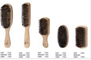 Soft Or Hard Singe Wood Brush Boar & Plastic Bristles By Magic Collection