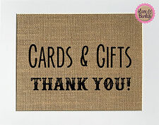 5x7 Cards & Gifts / Burlap Print Sign UNFRAMED / Rustic Country Party Shower