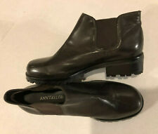 Women 's Ann Taylor Brown Leather Chelsea Ankle Booties Boots Size 6M