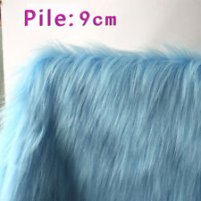 "Sky blue SHAGGY FAUX FUR FABRIC LONG PILE FUR costumes photo backdrops 60"" BTY"