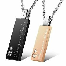Uhibros His and Hers Matching Set Titanium Plated Couple Pendant Necklace Box