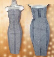 KAREN MILLEN Striped Thick Denim Strapless Lace Back Pencil Party Dress UK 12 40