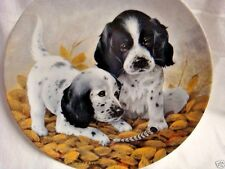 """""""Fine Feathered Friends"""" E 00004000 Nglish Setter Pups Collector Plate by Lynn Kaatz 1989"""