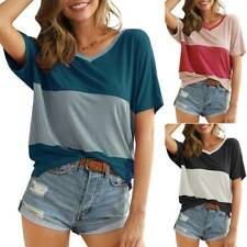 Womens Summer V-Neck T-Shirts Ladies Casual Loose Short Sleeve Tops Blouse UK