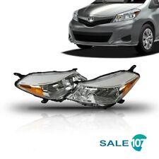 For 2012 2014 Toyota Yaris Hatchback Headlights Headlamps Chrome Housing Set L+R