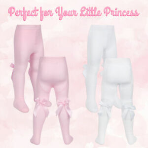 1 2 Pairs Baby Girls Stocking Tights With Bows Spanish Frilly Fringe Cotton Rich