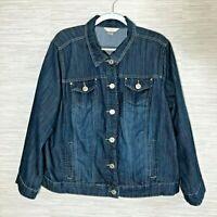 CJ Banks 1X Denim Jacket Blue Ruffled Trim Rhinestone Buttons Soft Cotton Blend