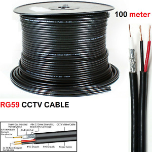 High Quality 100 Meter Shotgun RG59 Video And 2 Power CCTV Cable Lead Security