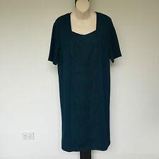 'FELLA HAMILTON' BNWT SIZE '12' TEAL GREEN  SHORT SLEEVE DRESS WITH FRONT PANEL