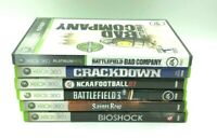 Lot of 6 Xbox 360 Games: Battlefield, saints row, crackdown, Bioshock, NCAA