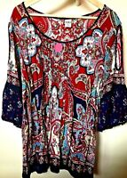 Paisley Peasant Style Boho Chic TOP Bila sz XXL Cold Shoulder Floral Bell Sleeve