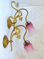 Ancienne Paire Appliques Laiton doré Tulipe Rose RARE 1900 / Sconces Chandelier