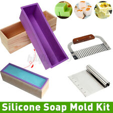 Stainless Cutter+Wood Box Soap Mold Kit with Rectangular Silicone Loaf Mold Set