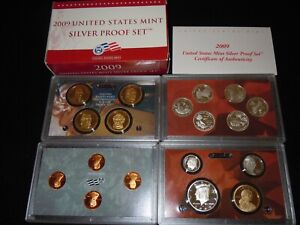 2009-S  90% Silver Proof Set,, United States Mint,,Original Packaging Box & COA