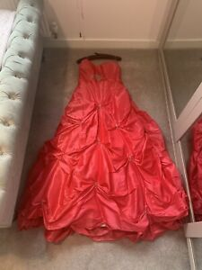 Pink Prom Dress Ball Gown Corset Back Size 16 With Matching Shawl / Wrap