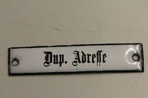 altes Emailleschild  Deutsche Post Reichspost Dup. Adresse  Emailschild