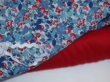 Denim Blue & Red Floral Fine Cotton Voile Fabric-140cm x per half metre