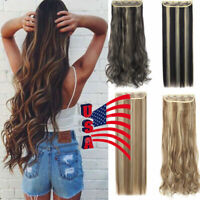 US Straight Wavy Curly 3/4 Full Head Clip in Hair Extension One Piece 5 Clips EG