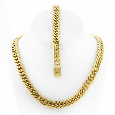 MENS HEAVY 12mm 14K GOLD FINISH MIAMI CUBAN LINK CHAIN AND BRACELET SET 30''