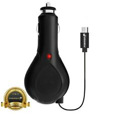 Fosmon CE Certified Black 12V DC 1A Universal Micro USB Retractable Car Charger