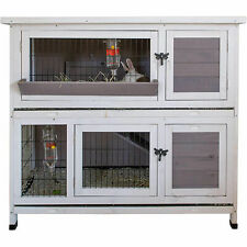 Indoor Outdoor Pet Bunny Hutch House Cage for Rabbits and Guinea Pigs, White
